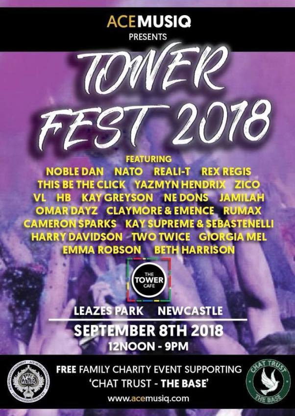Tower Fest 2018 Line Up, Leazes Park, Newcastle Upon Tyne